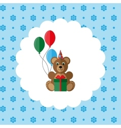 Teddy bear in cap with balloons and gift vector image vector image