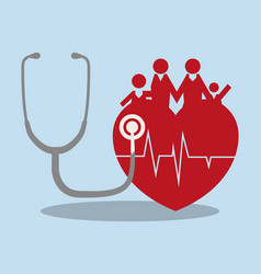 family heart medical health care vector image vector image