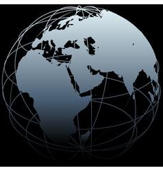 globe eastern earth world longitude map on black vector image