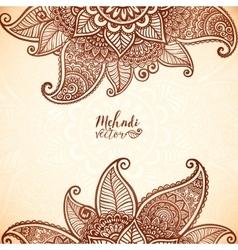 Indian mehndi henna tattoo style card vector image