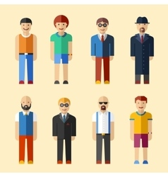 Male figure avatars flat style icons vector image vector image