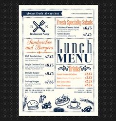 Retro Frame restaurant lunch menu design layout vector image vector image