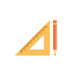 school triangular ruler and yellow pencil vector image vector image