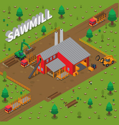 timber mill lumberjack isometric composition vector image vector image