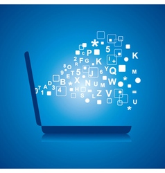 Alphabets and numbers comes from laptop vector image