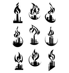 Black industrial chemical factory icons vector image vector image