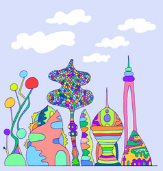 bright colorful fantastic citycartoon sketch vector image