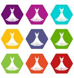 dress icon set color hexahedron vector image vector image