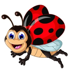 funny ladybugs flying cartoon for your design vector image vector image