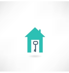 house with a key icon vector image vector image
