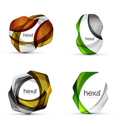 set of hexagon shape business emblems vector image