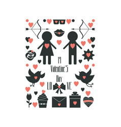 valentine s day set of elements vector image