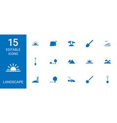 15 landscape icons vector image
