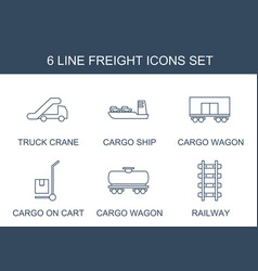 6 freight icons vector image