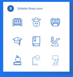 9 study icons vector image