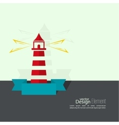 Abstract background with luminous lighthouse vector image vector image