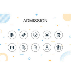 Admission trendy infographic template thin line vector