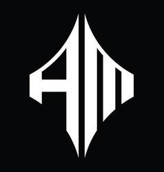 Am logo monogram with diamond shape design vector