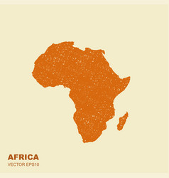 An africa map silhouette isolated with scuffed vector