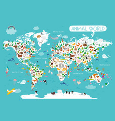 animals world map beautiful cheerful colorful for vector image