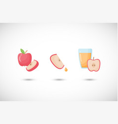 apple and apple juice flat icon set vector image