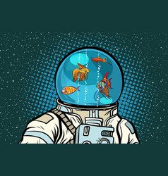 Astronaut with helmet aquarium with fish vector