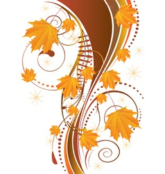 Autumn ornament with maple leaves2 vector image