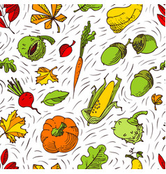 autumn seamless pattern fall season background vector image