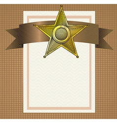 backround with sheriff badge in engraving style vector image