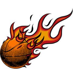 basketball on fire on white vector image