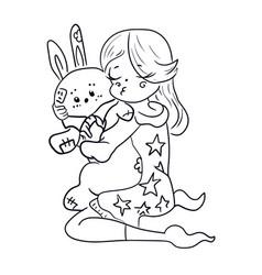 Black girl hugs a blue rabbit toy vector