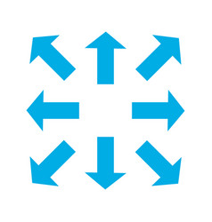 blue thin arrows in 8eight different directions vector image