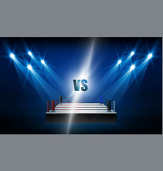 boxing ring arena and spotlight floodlights design vector image