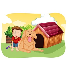 Boy and dog on the grass vector