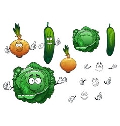 Cabbage cucumber and onion vegetables vector image