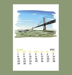 Calendar sheet layout august month 2021 year vector