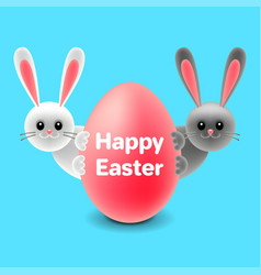 cartoon easter rabbits behind egg isolated vector image