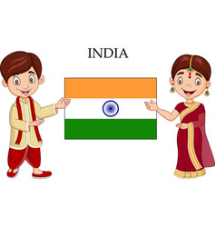 Cartoon indian couple wearing traditional costume vector
