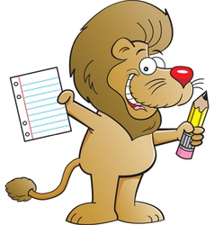 Cartoon Lion Holding a Paper and Pencil vector image