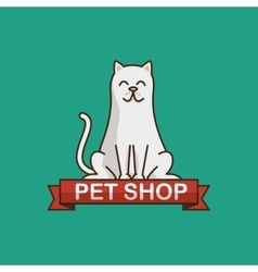 Cat pet shop icon vector