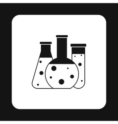 Chemical laboratory flasks icon simple style vector image