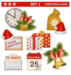 Christmas Icons Set 1 vector image