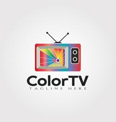 Color television logo designtechnology icon vector