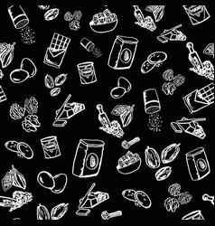 cookie ingredients pattern on black background vector image