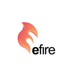 creative fire icon with letter e shapeflame logo vector image