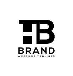 creative letter hb logo design black and white vector image