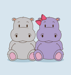 Cute little hippos couple characters vector