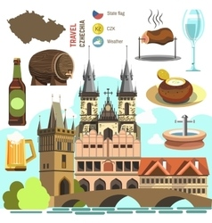 Czech Republic Prague symbol set vector