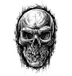 detailed graphic human skull trash polka line art vector image