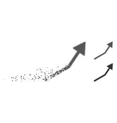 Disintegrating pixel halftone positive trend arrow vector